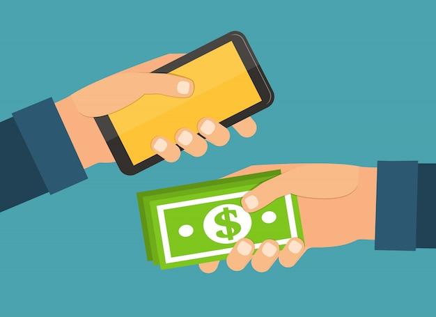 両手お金、モバイル。交換と購入フラットなデザインのベクトル図 Premiumベクター