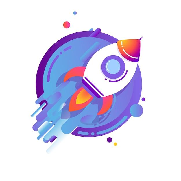 宇宙に飛んでいるロケット Premiumベクター