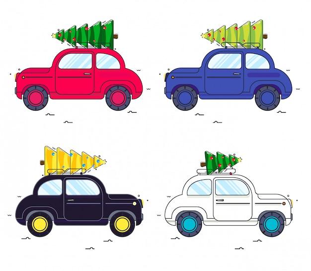 Новый год. установленный автомобиль несет елку. образ автомобиля в стиле линии. красная машина и зеленая елка Premium векторы