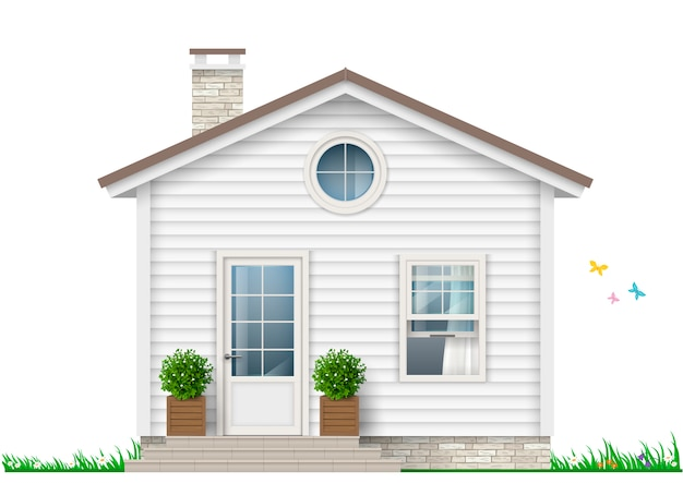 Маленький белый дом Premium векторы