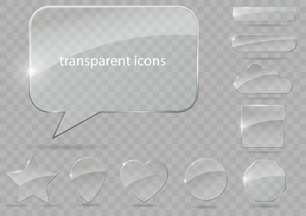 透明なアイコンのセット Premiumベクター