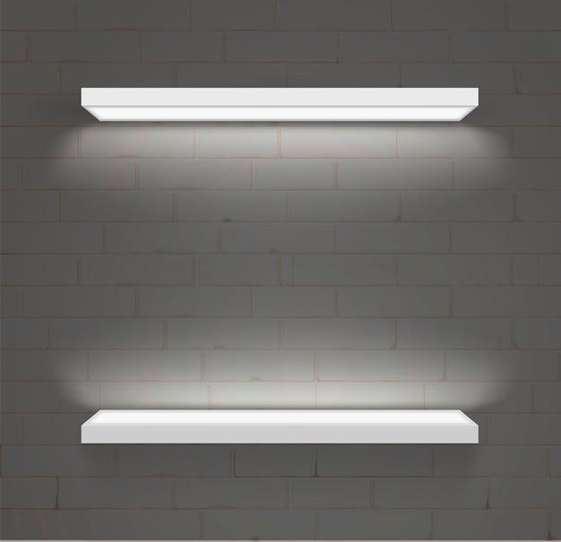 Полки для товаров. декоративное светодиодное освещение. современная мебель и торговое оборудование. вектор. Premium векторы