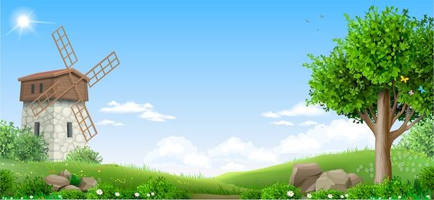 Баннер природный фантазийный пейзаж Premium векторы