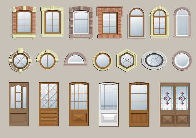 古典的な窓のセット Premiumベクター