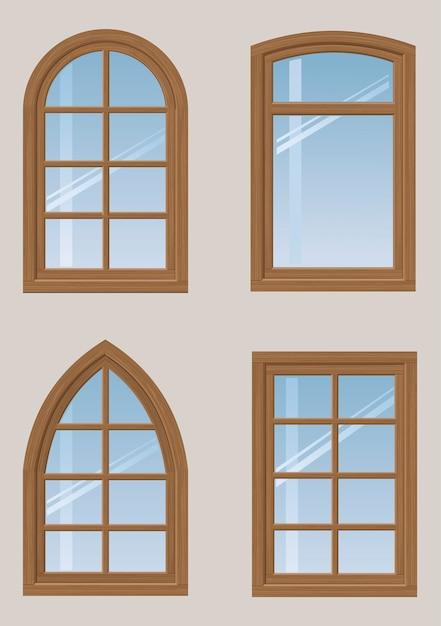 木製の窓のセット Premiumベクター
