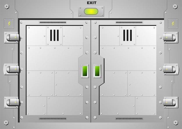 ベクターグラフィックスの鋼製ドアロックをスライドさせます。 Premiumベクター
