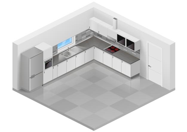 モダンなキッチン等尺性 Premiumベクター