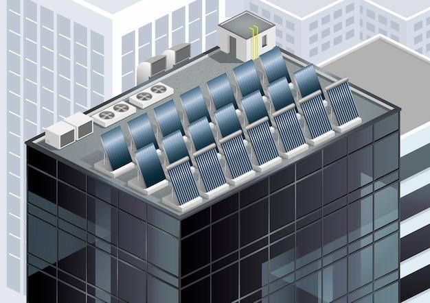 屋根の上の太陽電池パネル Premiumベクター