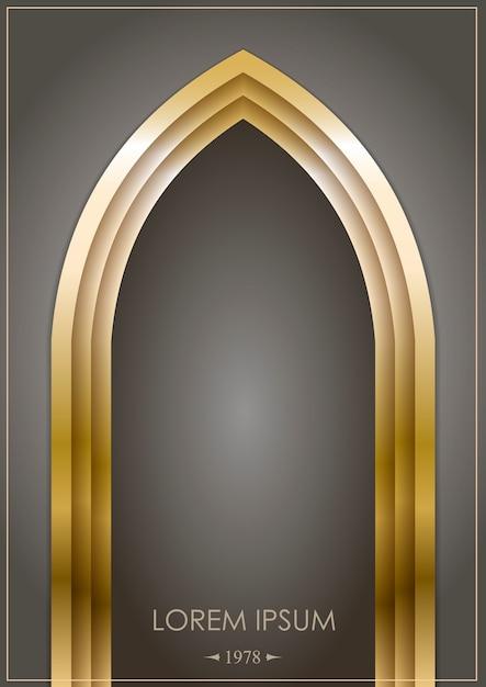金のアラビアのアーチ Premiumベクター