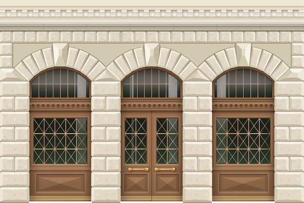 Каменный фасад заведения Premium векторы