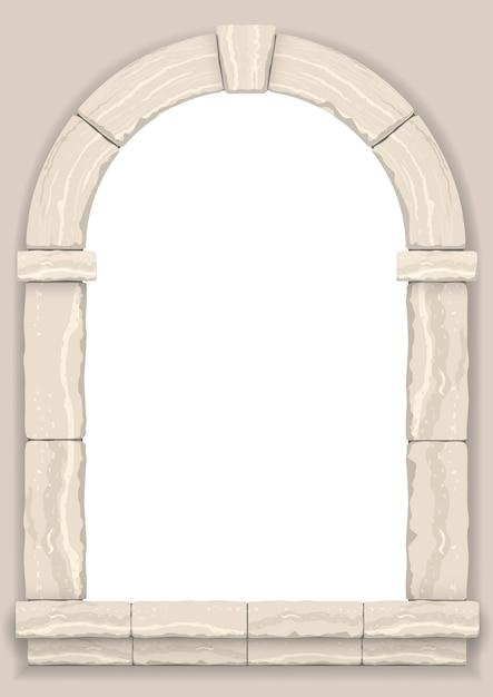 ベージュの石の壁のアーチ Premiumベクター