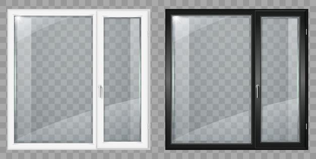 Современные белые и черные пластиковые широкие окна Premium векторы