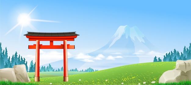 Японский пейзаж с воротами тори Premium векторы