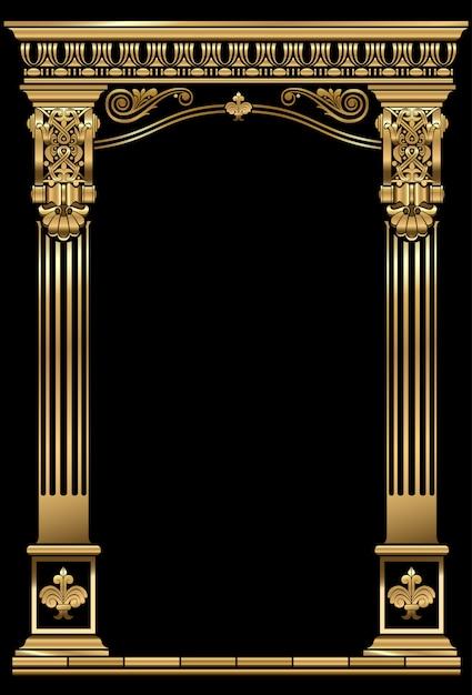 クラシックアンティークゴールドヴィンテージ豪華なアーチフレーム Premiumベクター