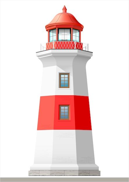 明るい海の灯台 Premiumベクター