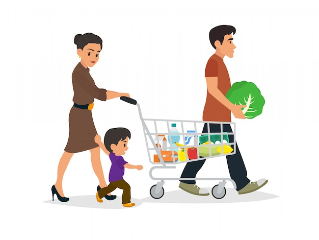 ショッピングバッグと幸せな家庭。 Premiumベクター