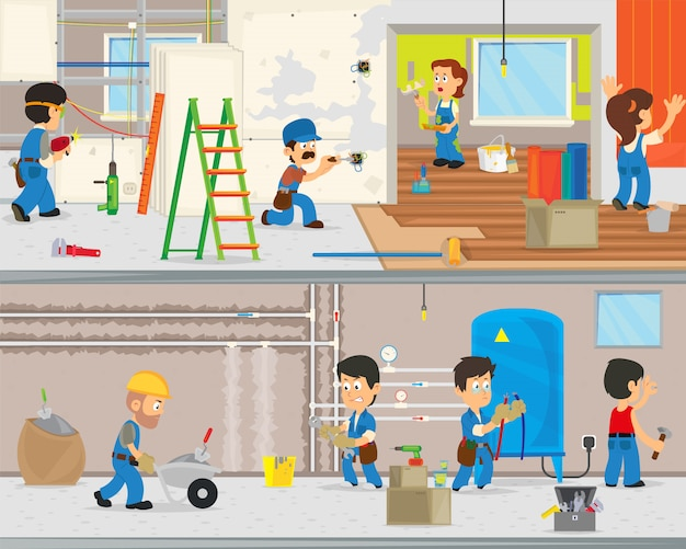 労働者はアパートで修理を行います。 Premiumベクター