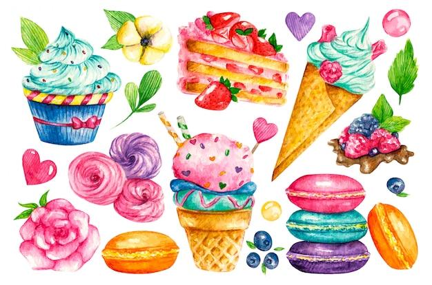 Сладкая коллекция. кондитерские акварельные продукты питания. иллюстрации тортов, пирогов, печенья, мороженого, печенья, сладостей Premium векторы