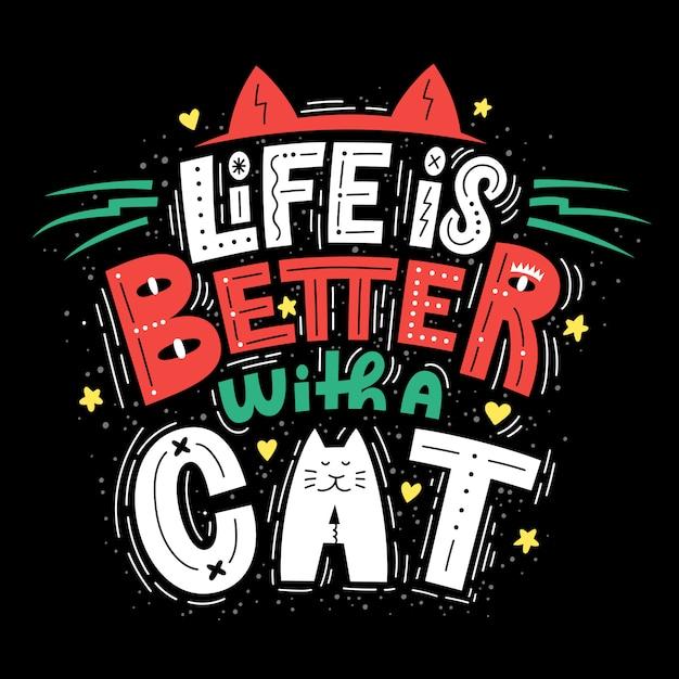 Жизнь лучше с кошкой буквенная композиция Premium векторы
