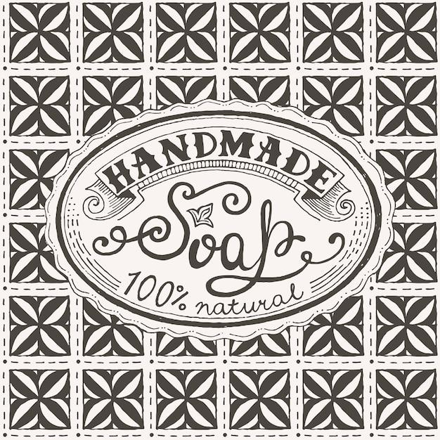 手描きのラベルと手作り石鹸バーのパターン Premiumベクター