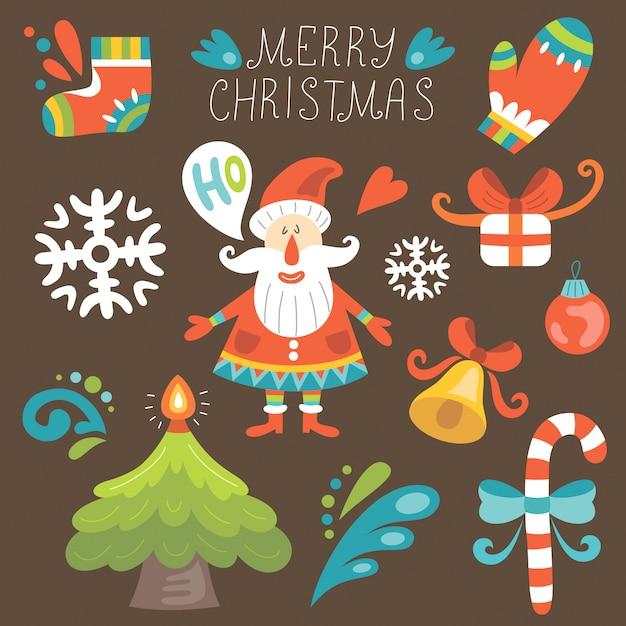 サンタとクリスマスセット Premiumベクター