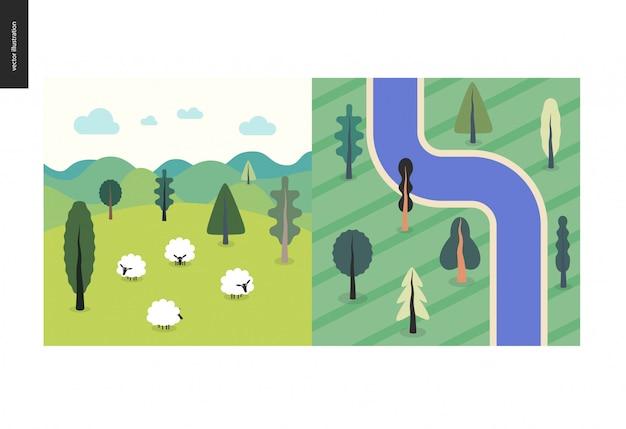 Вид сверху, спутник реки с деревьями, поле, пейзаж с овцами, холмы, облака, зеленый летний пейзаж Premium векторы