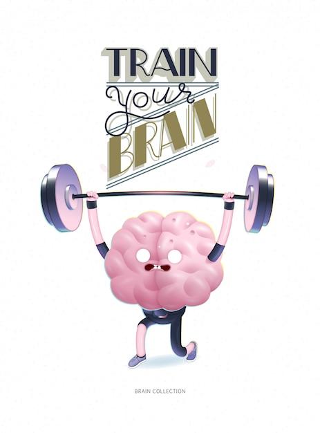 レタリングであなたの脳のポスターを訓練 Premiumベクター