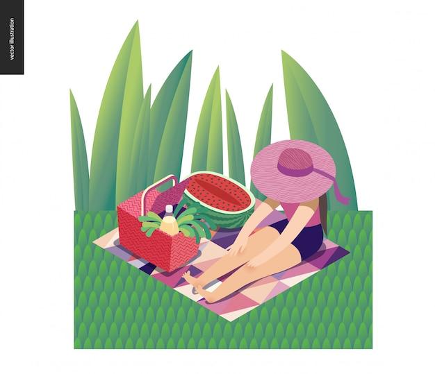 リボン太陽帽子と草の中に座っている女の子 Premiumベクター