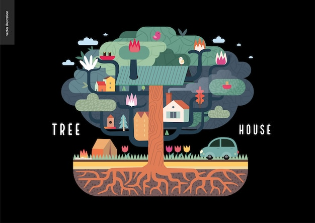 Дом на дереве Premium векторы