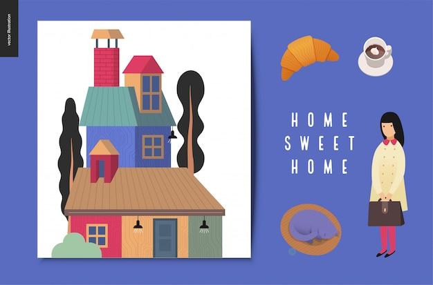 Домашний милый дом иллюстрация Premium векторы