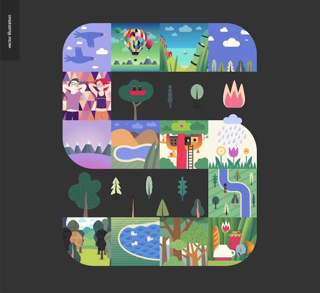 シンプルなもの、森は黒の背景に組成を設定 Premiumベクター