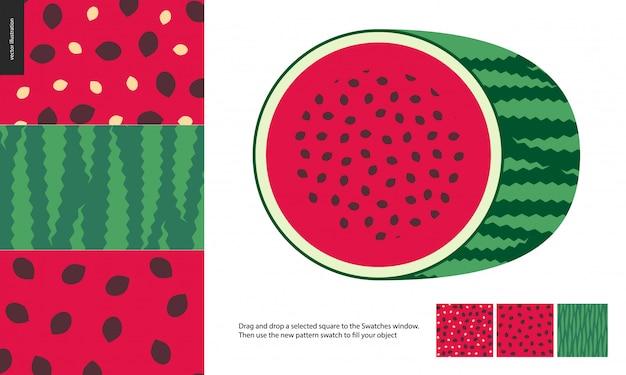 Пищевые узоры, фрукты, арбуз Premium векторы