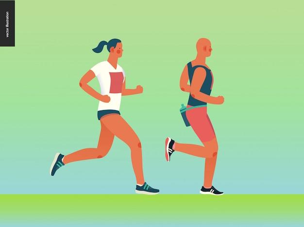マラソンレースグループ Premiumベクター