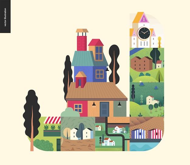 シンプルなもの-家の構成 Premiumベクター