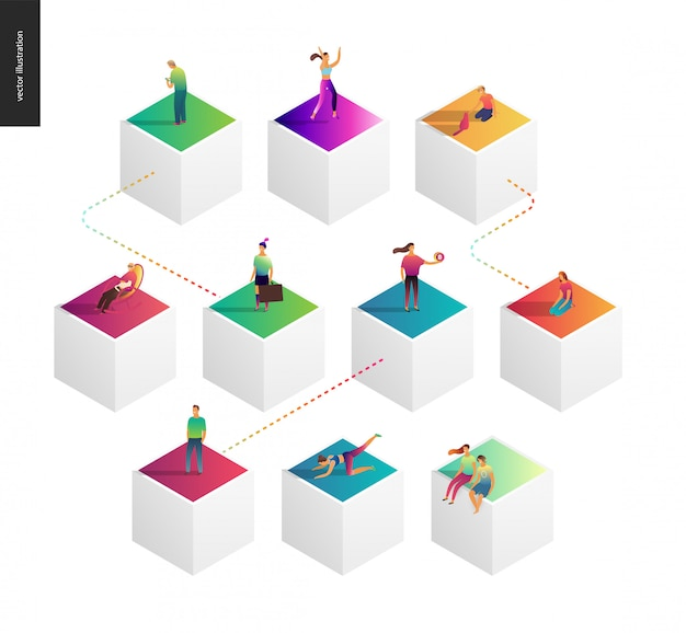 ネットワークの概念図 Premiumベクター