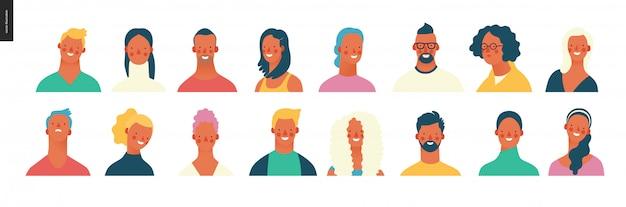明るい人の肖像画セット-若い男性と女性 Premiumベクター