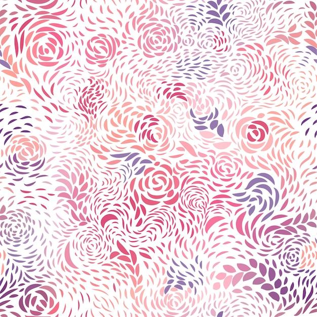 花びらと紫のシームレスパターン Premiumベクター