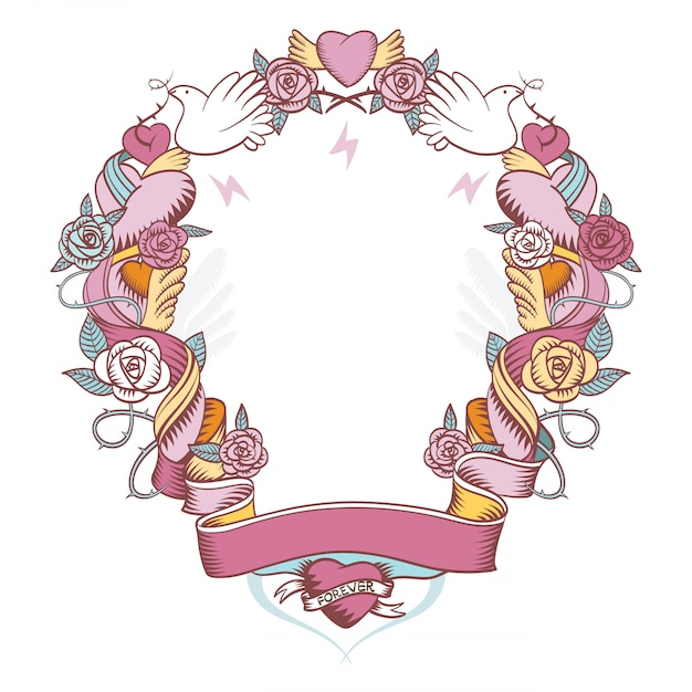 バラとハートを織り込んだピンクのビネット Premiumベクター