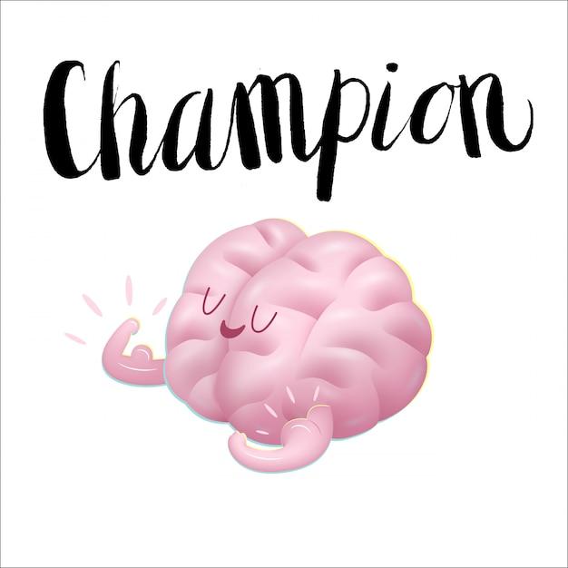 上腕二頭筋漫画イラストとレタリングを示す脳をチャンピオン Premiumベクター