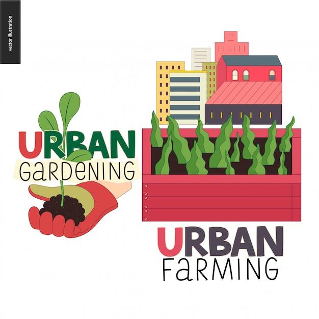 都市農業と園芸のロゴ Premiumベクター