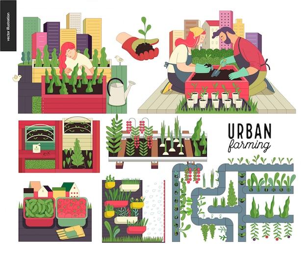 都市農業および園芸セット Premiumベクター