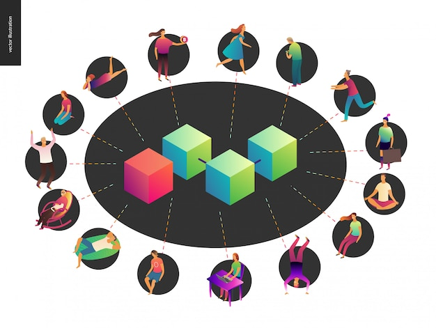 ブロックチェーンの概念ベクトル図 Premiumベクター