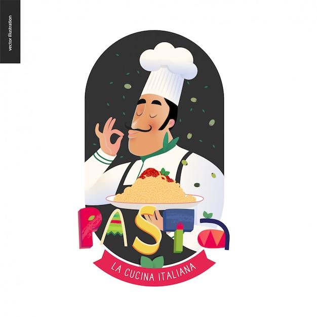 イタリアンレストランのシェフ Premiumベクター