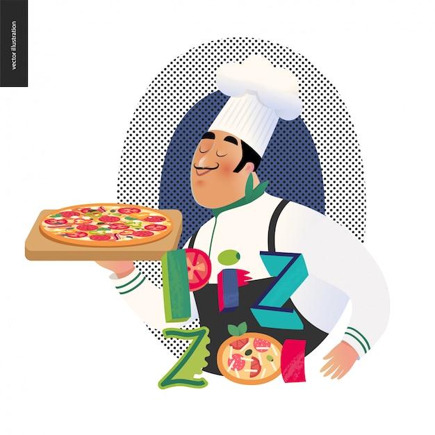ピザとイタリアの文字 Premiumベクター