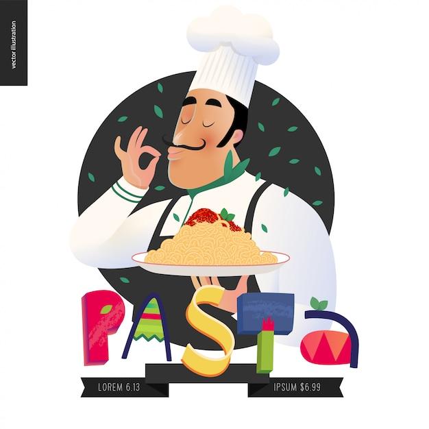 プスタとイタリア語の文字 Premiumベクター