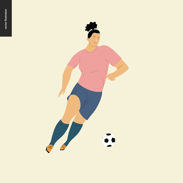 女子ヨーロッパサッカー、サッカー選手 - サッカーボールを蹴るヨーロッパのサッカー選手用具を着た若い女性のフラットのベクトルイラスト Premiumベクター