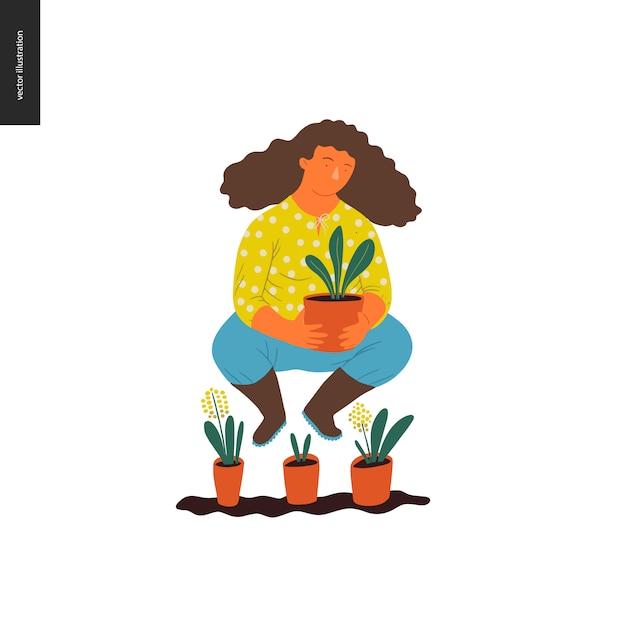 人々夏ガーデニング - 若い茶色の髪の女性の平らなベクトルの概念図 Premiumベクター