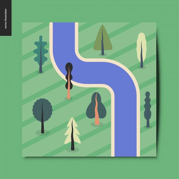 単純なもの - 上面図、周りのフィールド上の木々と川の衛星撮影 Premiumベクター