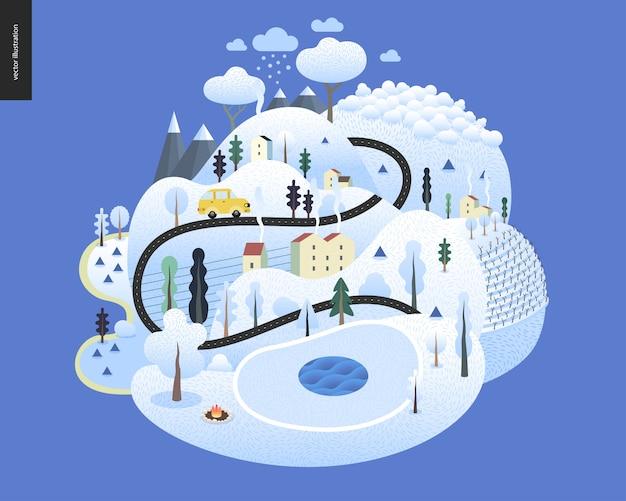 魔法の冬景色 Premiumベクター