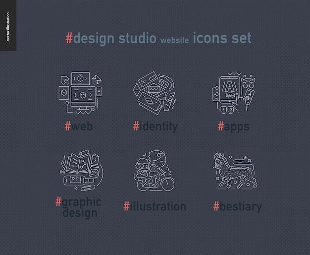 デザインスタジオのウェブサイトのアウトラインのアイコンを設定 Premiumベクター